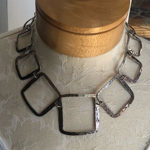 Hammered Sterling Silver Square Linked Necklace
